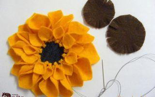Картина подсолнухи из фетра в подарок  – мастер-класс с фото